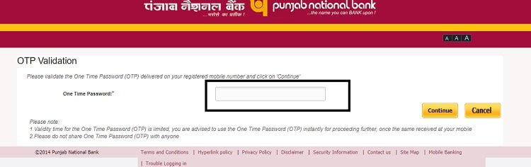 PNB one time password